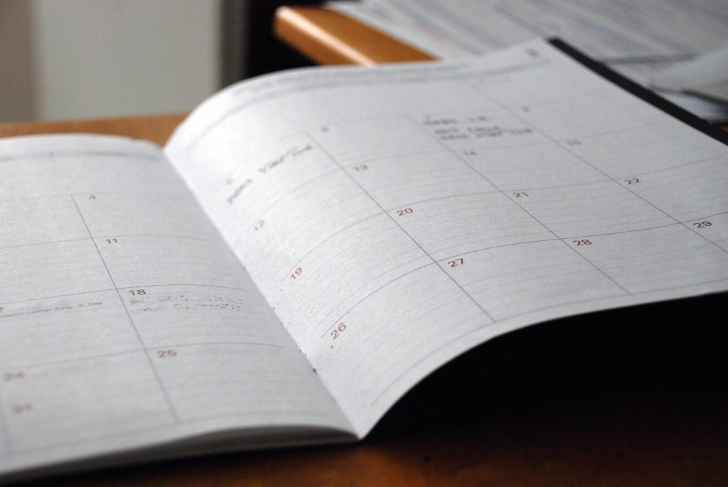 a calendar to schedule your writing time