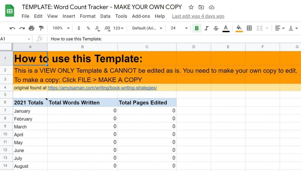 screenshot of the word tracker you can use in google spreadsheets